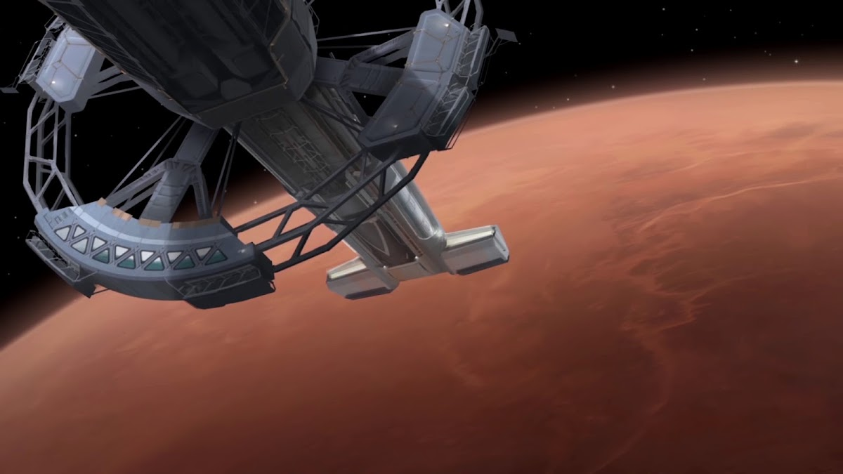 Spaceship approaching Mars in Civilization 6 game (science victory)