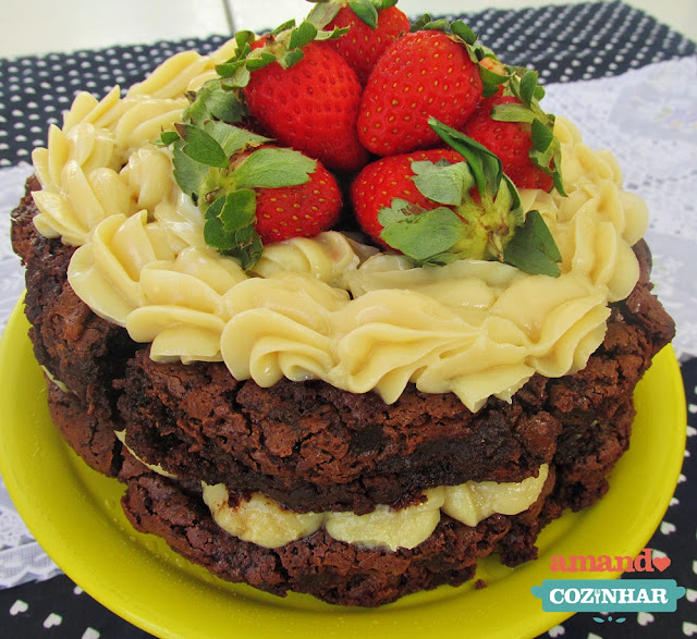 receita Naked Cake de Brownie