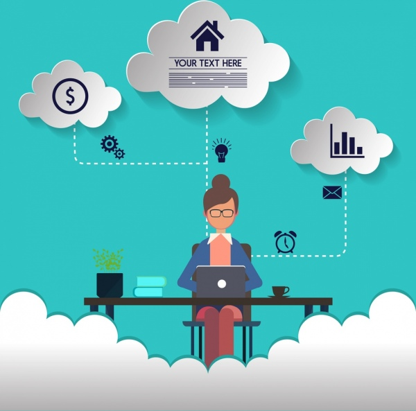 Working concept infographic woman interface cut cloud icons Free vector