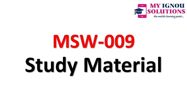 IGNOU MSW-09 Study Material