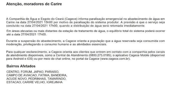 Comunicado da Cagece à população de Cariré-CE