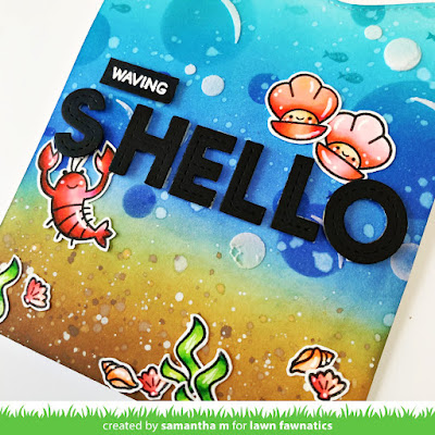 Waving S'hello Card by Samantha Mann, Lawn Fawnatics Challenge, Lawn Fawn, Distress Inks, Ink blending, Die Cuts, Handmade Cards, Card Making, paper Crafts, cards, #lawnfawn #lawnfawnatics #distressinks #inkblending #handmadecards #cardmaking