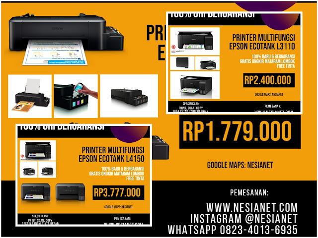 Jual Printer 100% Baru, Ori, Bergaransi Resmi Terbaik Mataram Lombok