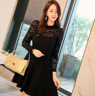 Dress Import Korea bahan Brokat