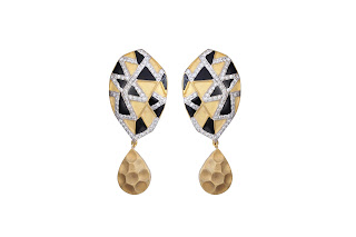 Abstract earrings curated in sterling silver white, black and matte gold plated finish by Izaara