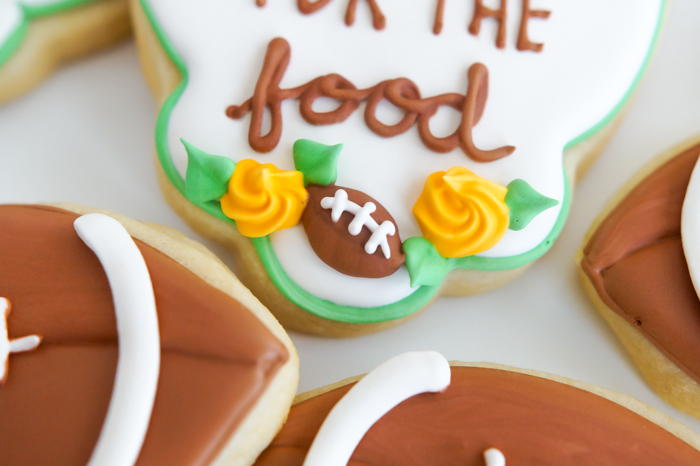 mini football on decorated cookie