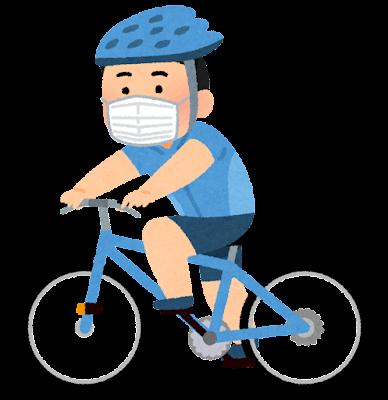 マスクを付けてサイクリングする人のイラスト(男性)