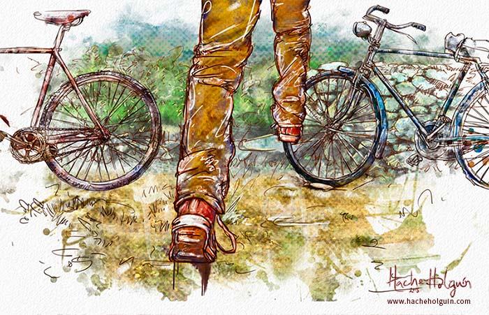 Ilustración de niño campesino corriendo hacia bicicleta