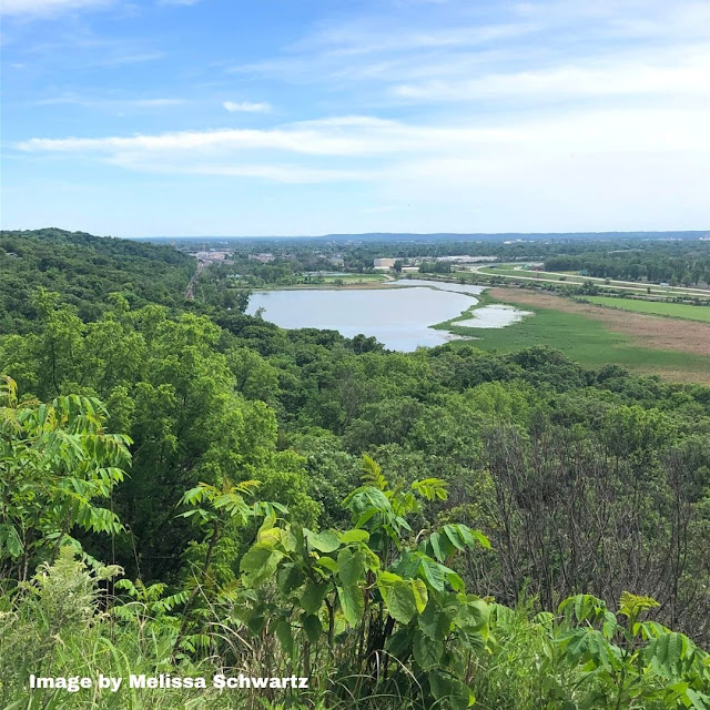 Spectacular view of Big Lake from Lewis and Clark Monument Park in Council Bluffs, Iowa.
