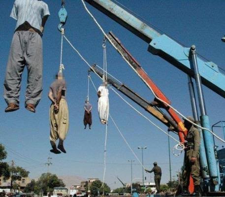 Four men are hanged in Iran for gang-raping a woman in front of her husband who they tied up and forced to watch