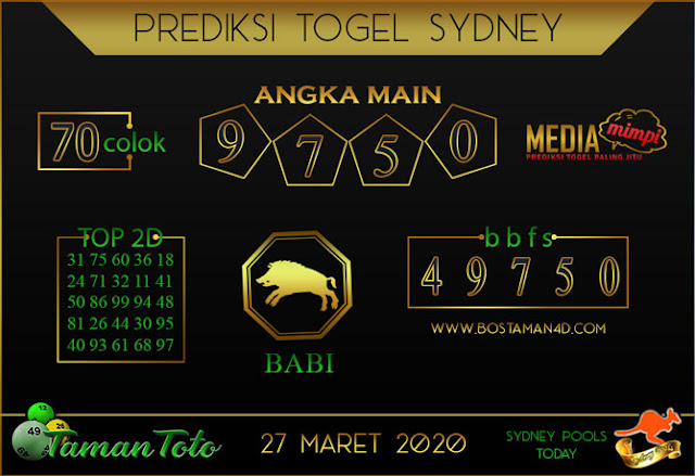 Prediksi Togel SYDNEY TAMAN TOTO 27 MARET 2020
