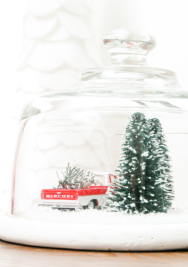 cloche turned vintage Christmas snow globe