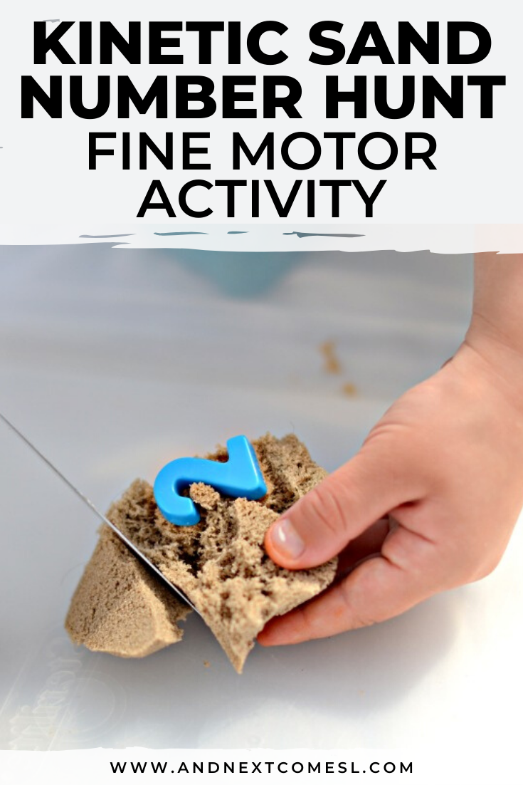 This simple number hunt activity with kinetic sand is great for preschool, kindergarten, or at home sensory play
