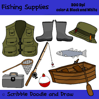 Fishing supplies clip art images of vest box rod boat boots hat net