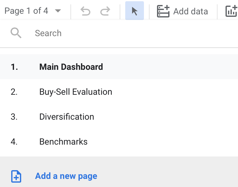 How to add new page to a Google Data Studio report