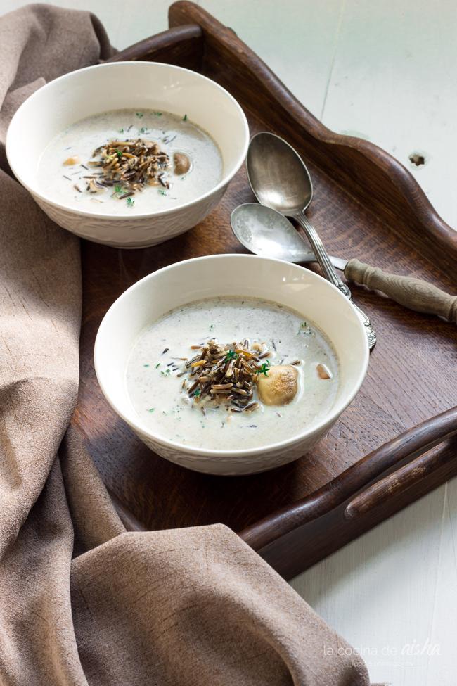 champiñones-arroz-salvaje-crema-sopa