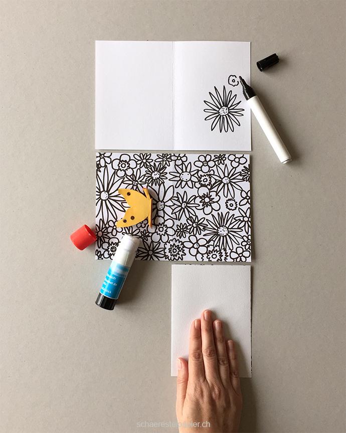 schaeresteipapier schmetterlinge auf der blumenwiese. Black Bedroom Furniture Sets. Home Design Ideas