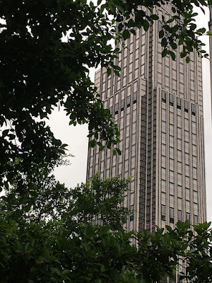 A new high rise with rectangular windows in earth tone