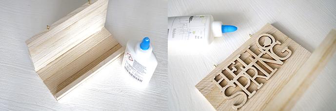 Abbildung der Materialien für eine Holzablage mit Schriftzug