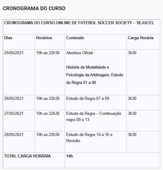 Sejucel abre inscrições para curso de Arbitragem em Futebol Soccer Society