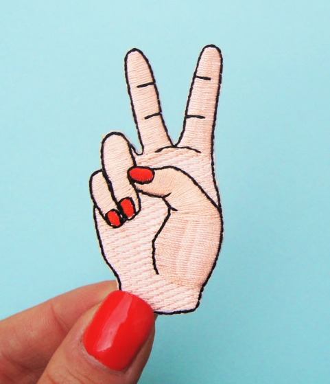 peace sign jean patch