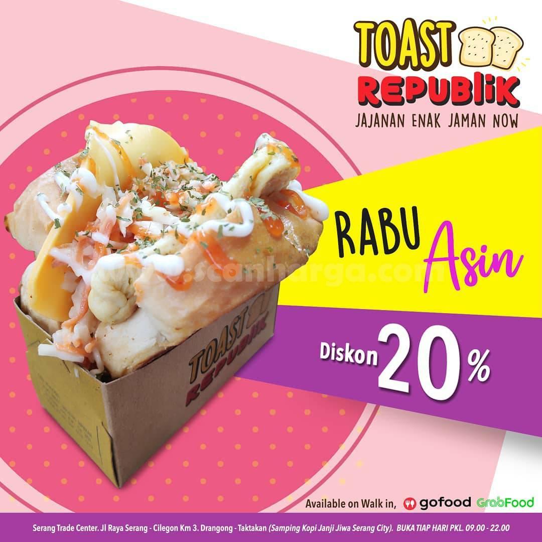 Toast Republik Promo Menu Rabu Asin Diskon 20% via Gofood & Grabfood