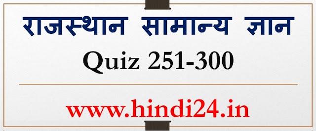 Rajasthan GK Hindi Quiz 251-300 राजस्थान सामान्य ज्ञान General Knowledge