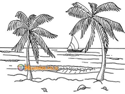 Gambar Mewarnai Pemandangan Pantai yang Indah dan Mudah Digambar