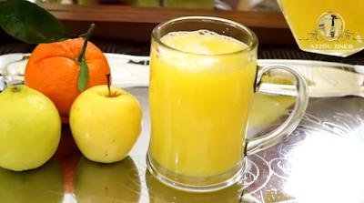 عصير ب تفاحة و ليمونه حامضة و برتقالة