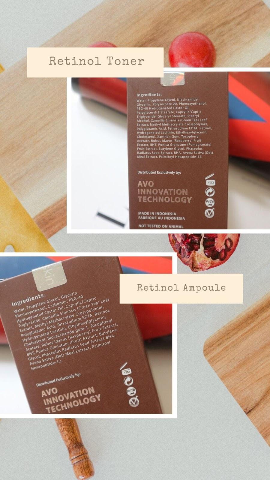 Ingredients Avoskin Miraculous Retinol Series