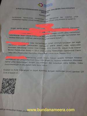 surat keterangan beroperasi saat PSBB