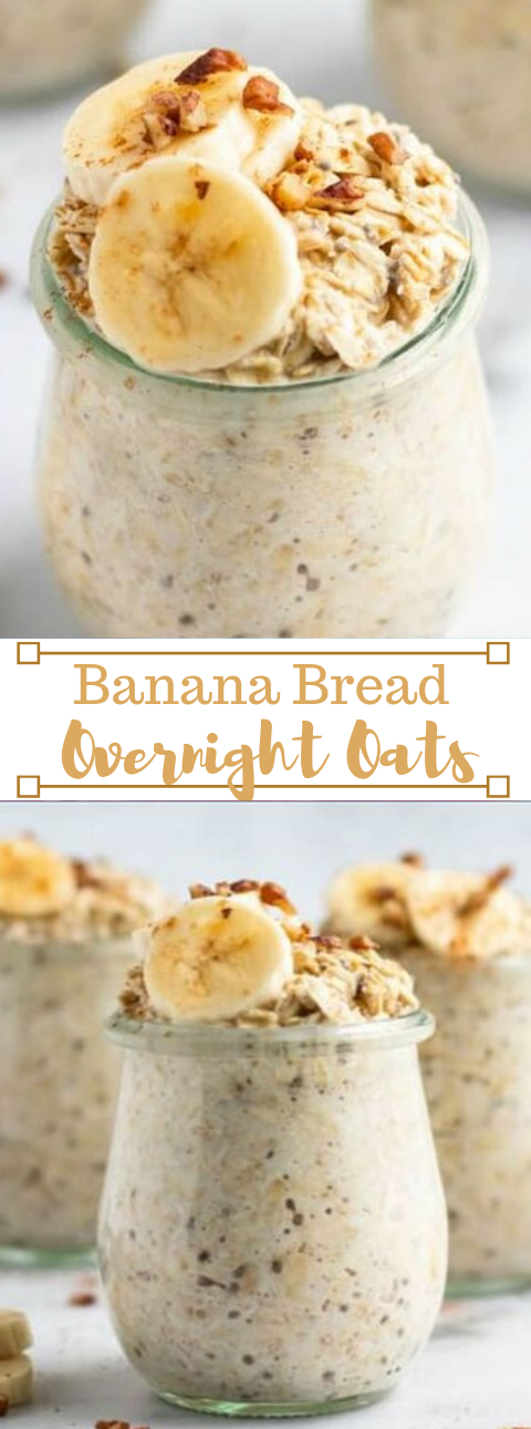 BANANA BREAD OVERNIGHT OATS #banana #diet #paleo #lowcarb #healthydiet