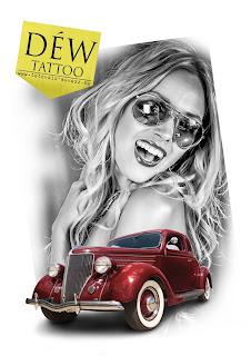 1018, csaj tetoválásm old mobil tattoo, régi autós tetoválás mintam szexy csaj, Szeged, Déw art