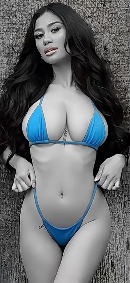 Hot Modelling Posing Bikini Fashion Photos - Black & White