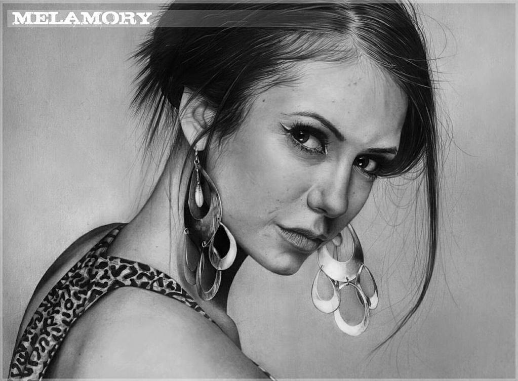 08-Nina-Dobrev-vampire-diaries-Olga-Larionova-Melamory-Realistic-Black-and-White-Portraits-of-Celebrities