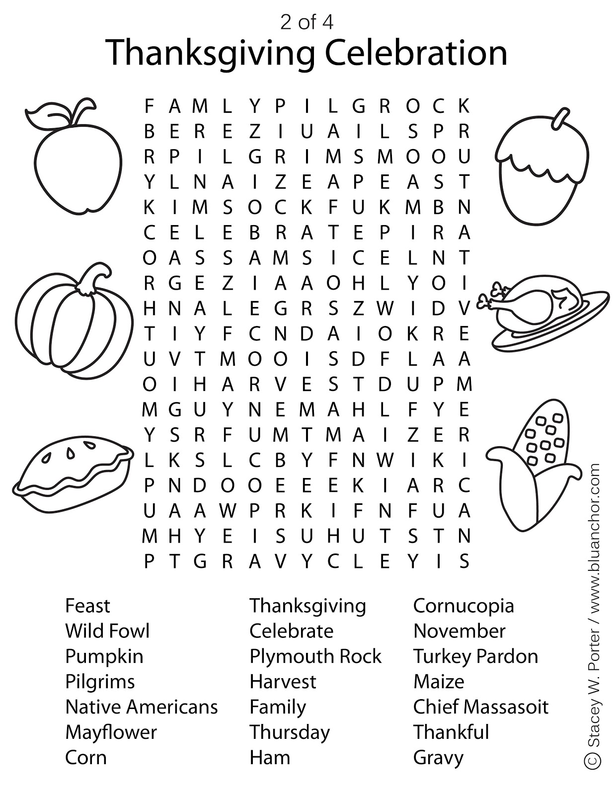 Blu Anchor Free Thanksgiving Printable Wordfind Activity Sheet 2 Of 4