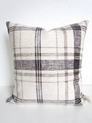 tan black plaid pillow cover