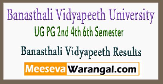 Banasthali Vidyapeeth UG PG 2nd 4th 6th Semester Result 2018