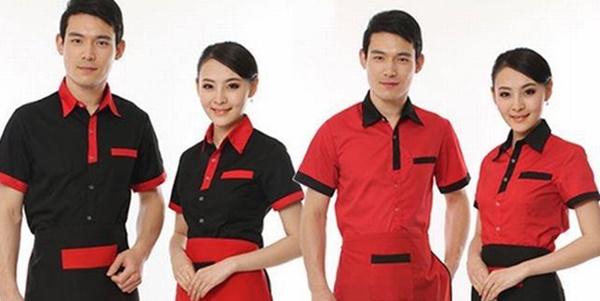 Đồng phục phục vụ nam nữ, đen đỏ