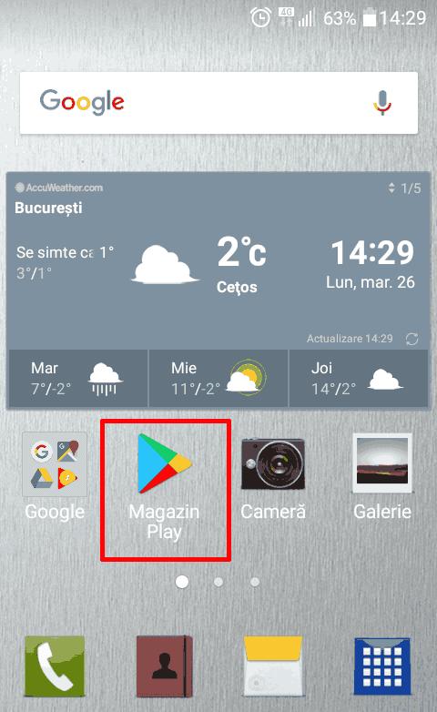 Magazinul Play apare în mod natural în meniul principal Android