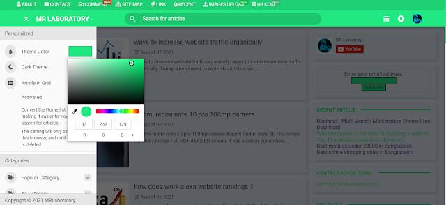 Custom theme color mode on mrlaboratory blogger template
