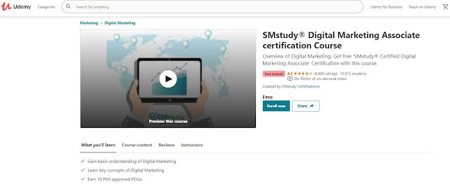 كورسات يوديمي المجانية في الـ Digital Marketing