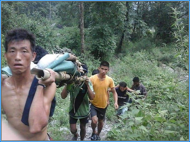 Hanging bridge collapsed at Mungpel village under the Pabringtaar gram panchayat, Kalimpong Block