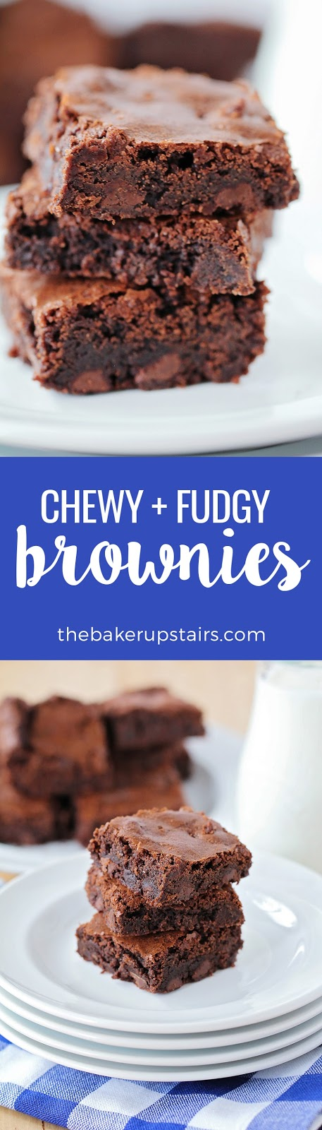 These chewy and fudgy brownies are so rich and decadent, and take just a few minutes to mix up. They're perfect for satisfying those chocolate cravings any time!