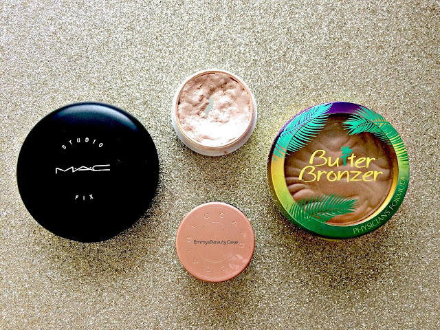 mac studio fix powder plus foundation, colourpop smoke n whistles, physicians formula butter bronzer