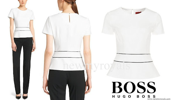 Crown Princess Mary wore Hugo Boss blouse and trousers