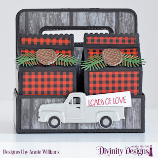 Stamp/Die Duos: Loads of Love (sentiment), Custom Dies: Milk Carton Holder, Milk Carton with Layers, Pickup Truck, Pierced Rectangles, Pine Branches, Pinecones, Paper Collections: Weathered Wood, Menswear Material