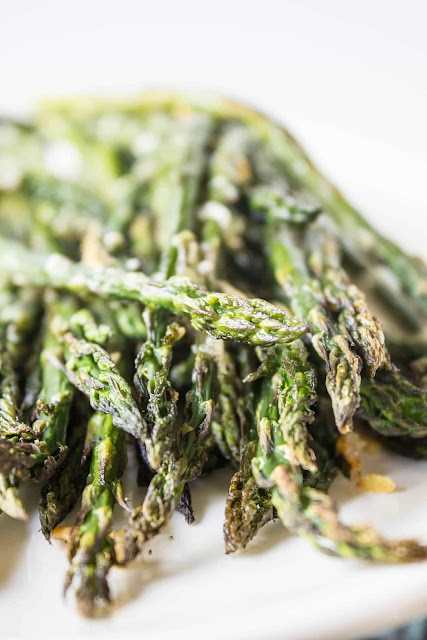 Super simple and super delicious roasted asparagus from Beyond the Chicken Coop; used with permission