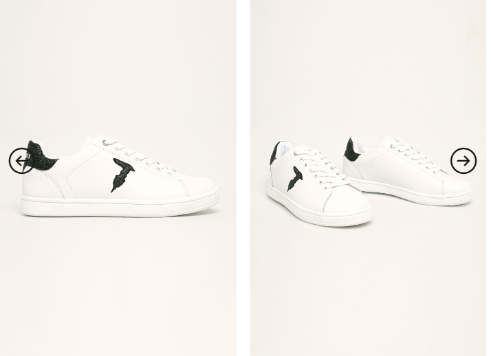 Adidasi femei albi originali de piele Trussardi Jeans