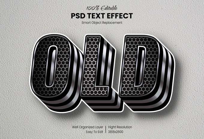 3D Old Text Effect Mockup